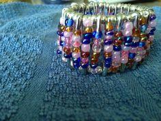 Safety pin Bracelet by Deanna Carr Safety Pin Bracelet, Safety Pin Jewelry, Diy Jewelry, Jewelry Bracelets, Bracelet Designs, Helmet, Beads, Rings, Crafts