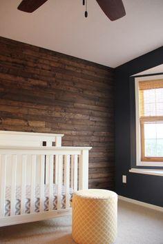 Wood paneling walls can add elegance to a room as well as a warm feel. You can use wood paneling … Wood Panel Walls, Wood Paneling, Wall Wood, Wood Wall Nursery, Rustic Nursery Boy, Dark Nursery, Wooden Accent Wall, Paneling Ideas, Bedroom Rustic