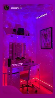 Indie Room Decor, Cute Bedroom Decor, Bedroom Setup, Room Design Bedroom, Teen Room Decor, Room Ideas Bedroom, Bedroom Inspo, Neon Bedroom, Dream Rooms