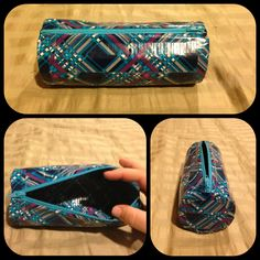 Duct tape pencil pouch or make-up bag with zipper.