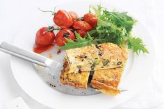 Asparagus and leek frittata with roasted tomatoes main image