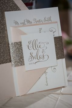 ELLIE Suite Glitter Package, Blush and gold, gold glitter, calligraphy wedding invitation, letterpress wedding invitations, glitter wedding invitations, rustic wedding invitations