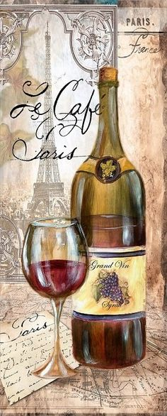 Wines - Very pretty wine bottle and glass - a vintage pic from a… Vintage Wine, Vintage Labels, Vintage Cards, Vintage Paper, Retro Vintage, Vintage Kitchen, Decoupage Vintage, Decoupage Paper, Vintage Pictures