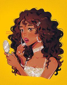 Curly Hair Cartoon, Curly Hair Drawing, Aesthetic Drawing, Aesthetic Art, Black Girl Art, Art Girl, Pretty Art, Cute Art, Girl Cartoon