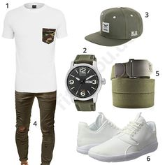 Weiß-Khaki Outfit für Herren mit Urban Style (m0380) #outfit #style #fashion #menswear #mensfashion #inspiration #shirt #cloth #clothing #männermode #herrenmode #shirt #mode #styling #sneaker #menstyle
