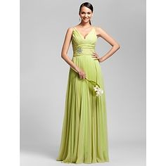 Love this bodice, but not the waistline...Sheath/Column V-neck Floor-length Chiffon Bridesmaid Dress – USD $ 127.39