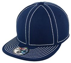 Blank Heavy Stitch Fitted Cap - Navy/White