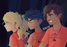 Golden Trio from Percy Jackson and the Olympians - Annabeth Chase, Percy Jackson and Grover Underwood Apollo Percy Jackson, Percy Jackson Fan Art, Percy Jackson Books, Percy Jackson Fandom, Grover Percy Jackson, Percy And Annabeth, Annabeth Chase, Solangelo, Percabeth