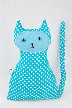Plush Toy , Polka Dot Cat, Vegan Friendly, Aqua