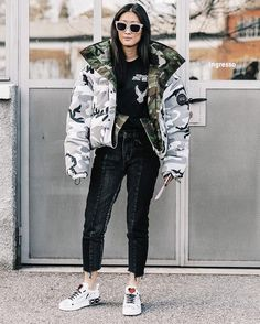 """1 Likes, 2 Comments - agameartists.com (@agameartists) on Instagram: """"Puffy coat edition 1 #agameartists"""" Street Style Edgy, Autumn Street Style, Street Style Women, Street Chic, Street Fashion, Milan Fashion, Street Styles, Street Wear, Black Leather Jeans"""