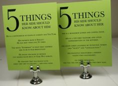 5 things each side should know about each of them... such a cute idea!