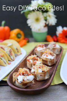 Easy DIY Taco Bites recipe via Kara's Party Ideas | KarasPartyIdeas.com by Evite #FreshenUpCinco #EviteParty #OldElPasso