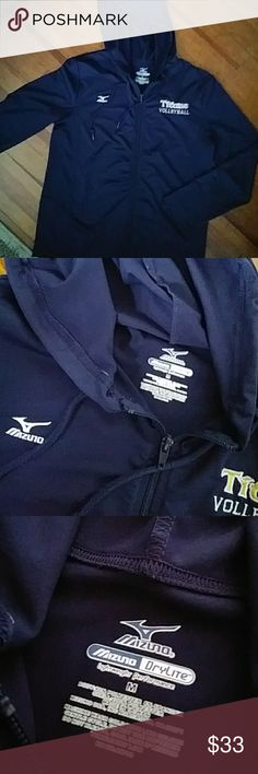 Mizuno lightweight performanc jacket Navy blue Titans Volleyball in yellow and white writing. Hood has tie string then front zips close. Excellent condition. Worn 1/2 times. Looks brand new. Mizuno Drylite Mizuno Jackets & Coats
