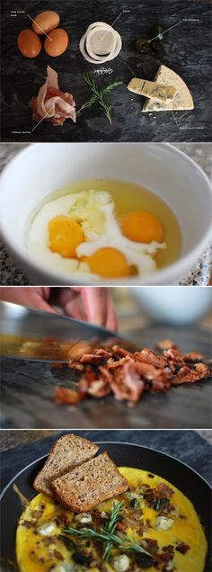 Bacon Blue Cheese & Fig Preserve Omelette recipe #breakfast #eggs