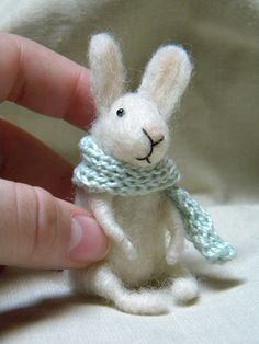 Little bunny with scarf needle felted ornament by feltingdreams. $38.00 USD, via Etsy.