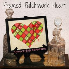 """HOME feature on the March 2017 """"You're the STAR"""" blog hop - by:   http://www.stonecottageadventures.com/2017/02/framed-patchwork-heart.html"""