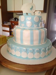 Baby Shower cake covered in fondant