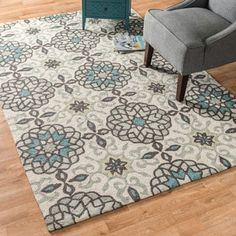 Shop for Hand-hooked Charlotte Ivory/ Metal Rug (3'6 x 5'6). Get free shipping at Overstock.com - Your Online Home Decor Outlet Store! Get 5% in rewards with Club O! - 17317742