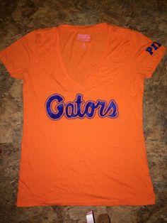 c1c037c489 Victoria s Secret Pink Florida Gators Logo V Neck T Shirt Large Orange Blue   VictoriasSecret