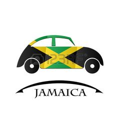 car icon made from the flag of Jamaica