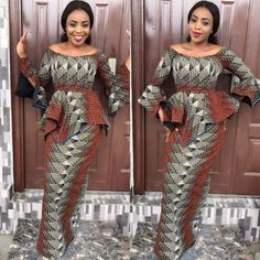 Mood Lightning Ankara Styles; Peplum Blouse with Straight Skirt Designs - DeZango Fashion Zone