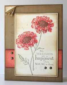 The colours on this card are Riding Hood Red, Calypso Coral, Soft Suede and Very Vanilla.