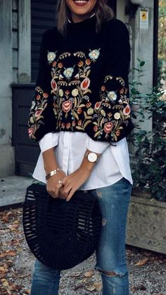 Cute Casual Outfits to Try Now A Rich Embroidery Floral Sweater from Pasaboho. Featuring Attractive floral clothing boho style fashion outfit inspiration and the latest fashion trends and more Shop this look ! Fashion Mode, Look Fashion, Trendy Fashion, Winter Fashion, Womens Fashion, Fashion Trends, Fashion Spring, Trendy Style, Curvy Style