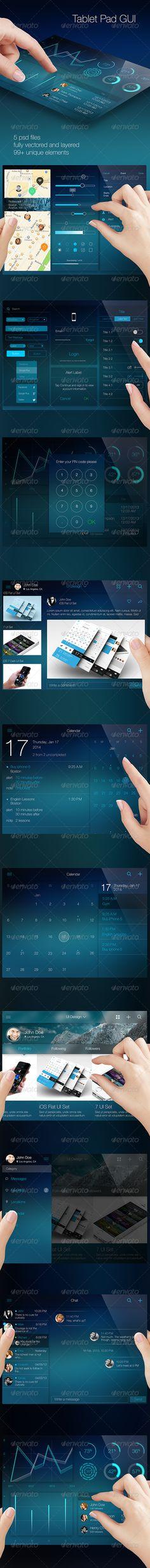 iOS Tablet Flat Pad UI Set Vol. 2 - User Interfaces Web Elements
