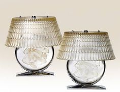 """A pair of René Lalique Art Deco clear and satin glass chromed metal mounted """"Poisson"""" lamps with """"Larmes"""" shades, designed in 1931, discontinued after 1951."""