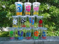8 Personalized Acrylic Tumblers New Summer designs, at the pool or beach or for party favors. Discounted price for buying more.. $80.00, via Etsy.
