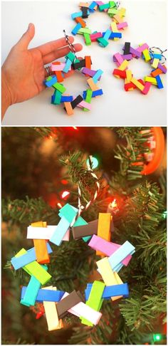 Make these colorful Christmas Tree ornaments using bright and cheery origami paper! These are so easy and teach kids folding skills. via /diy_candy/ Origami Christmas Ornament, Origami Ornaments, Paper Ornaments, Christmas Tree Ornaments, Christmas Decorations, Homemade Christmas Tree, Colorful Christmas Tree, Kids Christmas, Handmade Christmas
