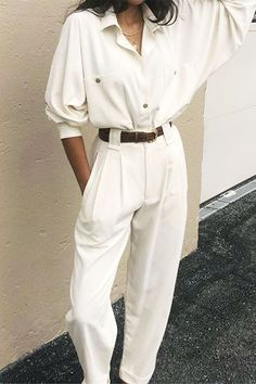 Shirts and trouser outfit ideas: White shirt and trouser combo