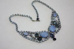 Vintage Chunky Necklace Blue Rhinestone Bib 1950s by patwatty, $40.00