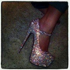 Multicolour sparkle heels