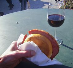 ~Wild boar sandwich with spicy mustard and a tasty Austrian red. Schonbrunn Palace, Vienna, Austria, April, 2012