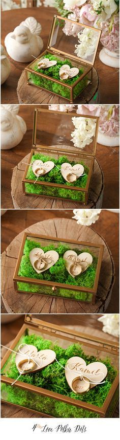 Unique Glass Wedding Ring Box with moss and wooden hearts #rustic #weddingideas #green #greenery #unique #ringbox #weddingringbox