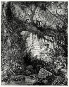 """Gustave Doré, illustration for Chateaubriand's Atala.   via oldbookillustrations.com    """"In a valley to the north, at some distance of the grand village, was a wood of cypresses and deals, called the Wood of Blood. It was reached by the ruins of one of those monuments of which the origins are ignored."""""""