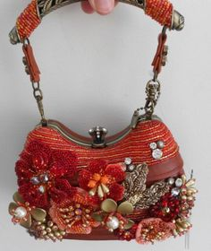 Mary Frances Blaze of Glory Red Bead Floral Bag Purse Handbag NEW Fall Only 1