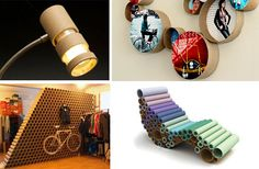 Lots of decorative objects for the home, office or any other place made out of recycled cardboard tubes.
