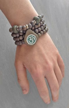 Clay Stone Mala - Buddhist Rosary Gray Prayer Bead Necklace Wrist Mala Bracelet - 108 Bead Japa Mala - Yoga Jewelry