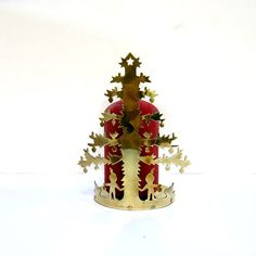 Vintage Christmas Tree Brass Candle Holder 1970s 2 by CoconutRoad