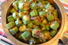 Curried Okra - Fresh Okra delicacy flavored with genuine, ethnic, individually packed spices. Savor the aroma of mustard seeds, cumin, asafetida, turmeric, and other spices as they are released at different stages during your cooking experience! This popular recipe of South India is relished as a side dish with rice, Indian bread, and lentil soup. PREP TIME: 10 minutes; COOK TIME: 15 minutes www.fillmyrecipe.com