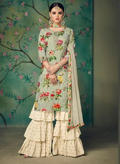 Buy Kajri By kaara Designer party wear look Muslin Cotton digital print with heavy handwork collection single available at wholesale Rates Party Wear Indian Dresses, Pakistani Fashion Party Wear, Dress Indian Style, Pakistani Dress Design, Pakistani Dresses, Indian Outfits, Bollywood Fashion, Pakistani Suits, Bollywood Saree