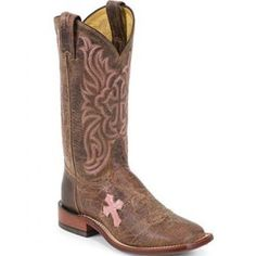Tony Lama Cowgirl Boots with Pink Cross. Very stylish and cute! Would look great with a pair of boot cuts!