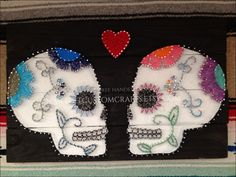 Shop for on Etsy, the place to express your creativity through the buying and selling of handmade and vintage goods. Sugar Skull Nails, Sugar Skull Art, Sugar Skulls, Nail String Art, String Crafts, Skull Crafts, Mexican Art, String Art Patterns, Unique Christmas Gifts