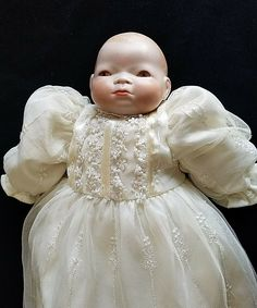 Item # CTSG- Christening Gown, Underpants, a pair of socks. Head and hands are porcelain. Signed on head: Chantal Halloween Costume Accessories, Halloween Costumes, Girl Dolls, Baby Dolls, Christening Gowns, The Ordinary, Flower Girl Dresses, Baby Style, Wedding Dresses