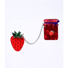 Erstwilder Fragaria Fruit Fill Resin Brooch Clip (49 BAM) ❤ liked on Polyvore featuring jewelry, brooches, red, charm jewelry, resin charms, red jewelry, dot jewelry and polka dot jewelry
