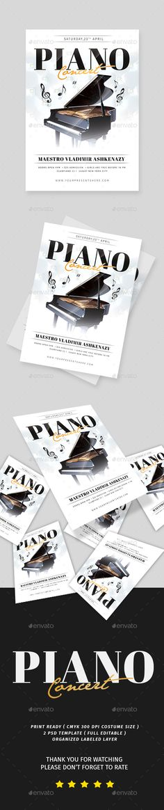 Piano Concert Flyer — Photoshop PSD #gigs #lessons • Download ➝ https://graphicriver.net/item/piano-concert-flyer/19685549?ref=pxcr