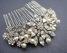 wedding hair with pearl pins'