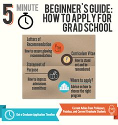 5 Minute Beginner's Guide: How To Apply For Graduate School!   Get grad school application tips, advice, and more from actual academics at top universities.  http://www.howtogetintograduateschool.com/graduate-applications/grad-school-beginners-guide/